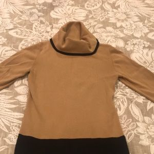 Ann Taylor Loft tan and black turtleneck sweater